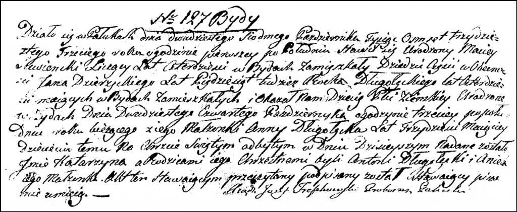 The Birth and Baptismal Record of Katarzyna Suwińska – 1833