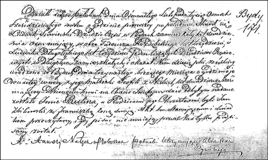 The Birth and Baptismal Record of Paulina Suwińska – 1856