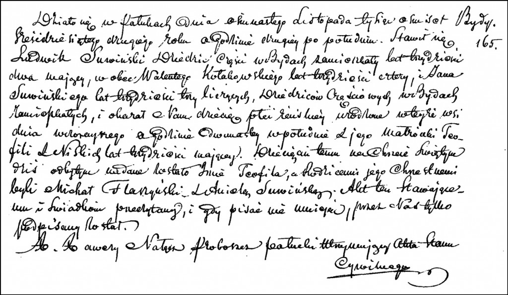 The Birth and Baptismal Record of Teofila Suwińska – 1862