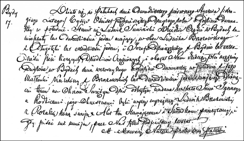 The Birth and Baptismal Record of Ignacy Suwiński – 1852