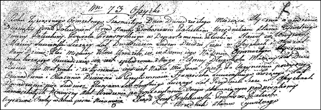 The Birth and Baptismal Record of Józef Suwiński – 1816