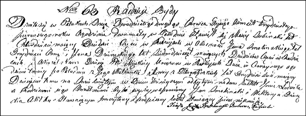 The Birth and Baptismal Record of Ludwik Suwiński – 1831