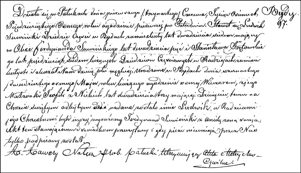 The Birth and Baptismal Record of Ludwik Suwiński – 1858