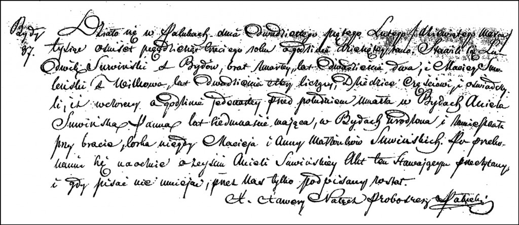 The Death and Burial Record of Aniela Suwińska – 1853