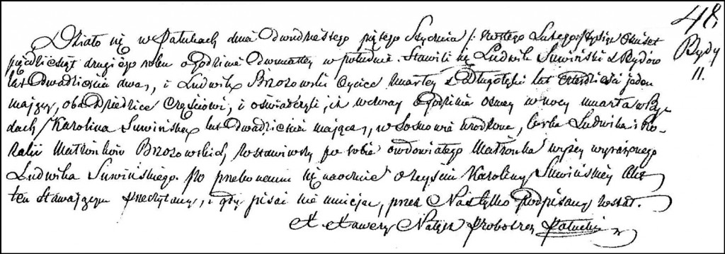 The Death and Burial Record of Karolina née Brzozowska Suwińska - 1852