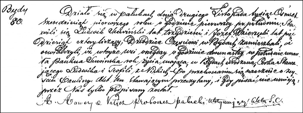 The Death and Burial Record of Paulina Suwińska – 1861