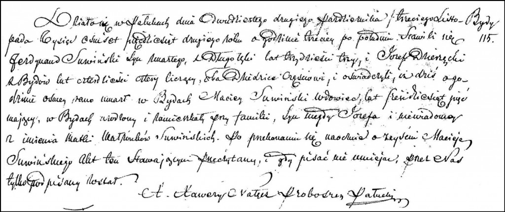 The Death and Burial Record of Maciej Suwiński – 1852