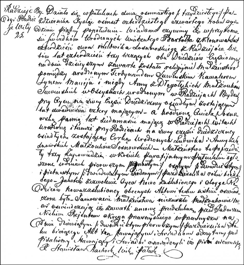 The Marriage Record of Ferdynand Suwiński and Aniela Sosnowska – 1844