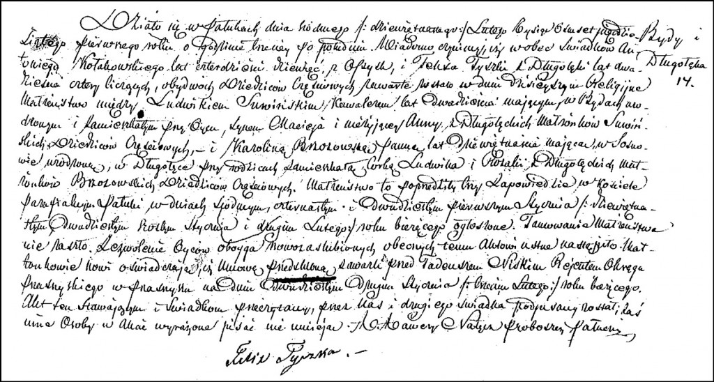The Marriage Record of Ludwik Suwiński and Karolina Brzozowska – 1851