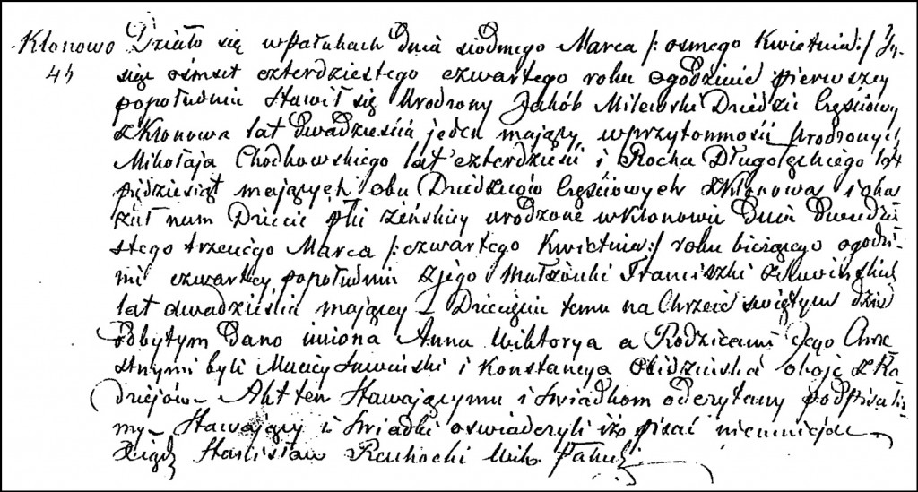 The Birth and Baptismal Record of Anna Wiktoria Milewska – 1844