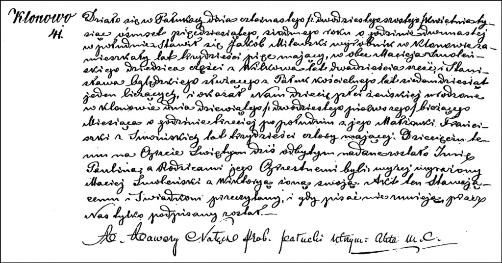 The Birth and Baptismal Record of Paulina Milewska – 1857