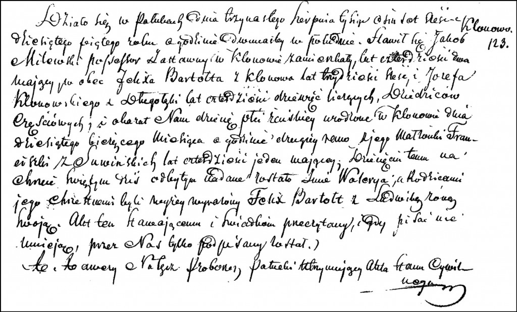 The Birth and Baptismal Record of Waleria Milewska – 1865