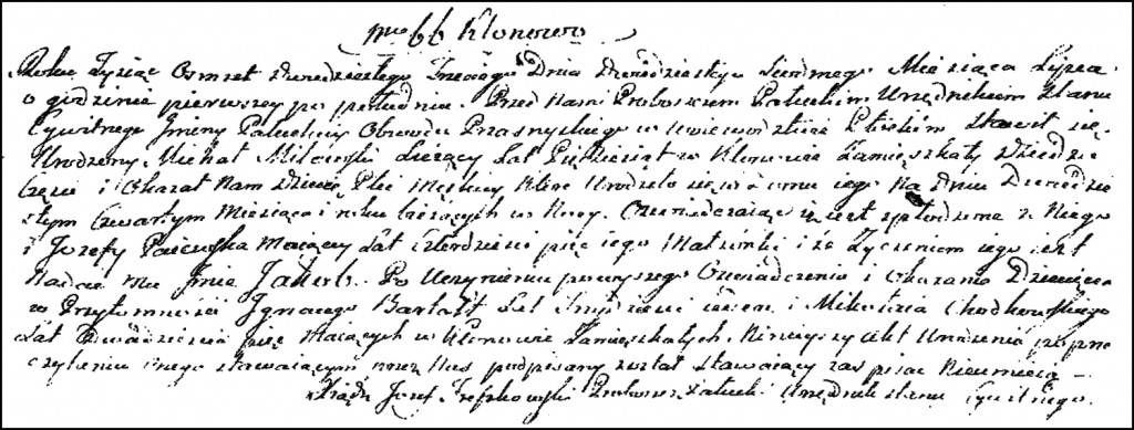 The Birth and Baptismal Record of Jakub Milewski – 1823