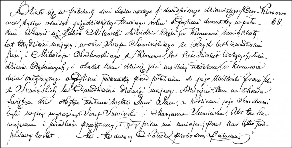 The Birth and Baptismal Record of Jan Milewski – 1853