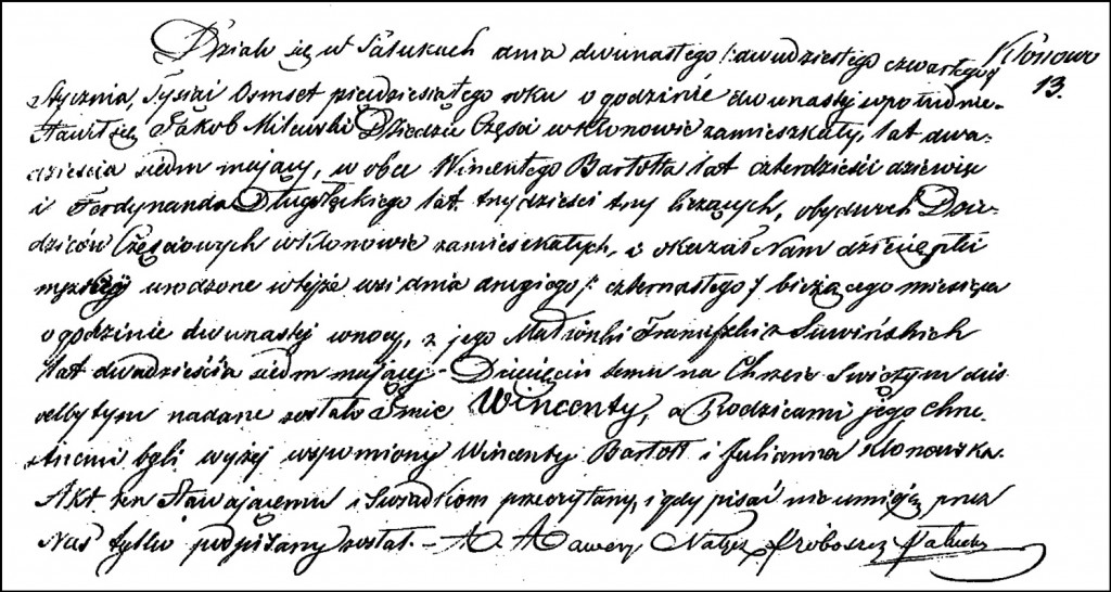 The Birth and Baptismal Record of Wincenty Milewski – 1850