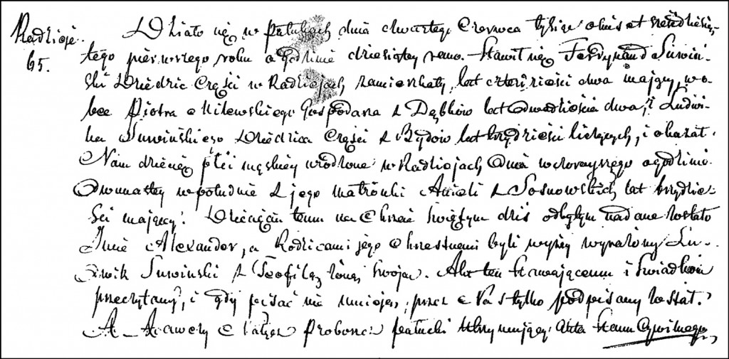 The Birth and Baptismal Record of Aleksander Suwiński – 1861