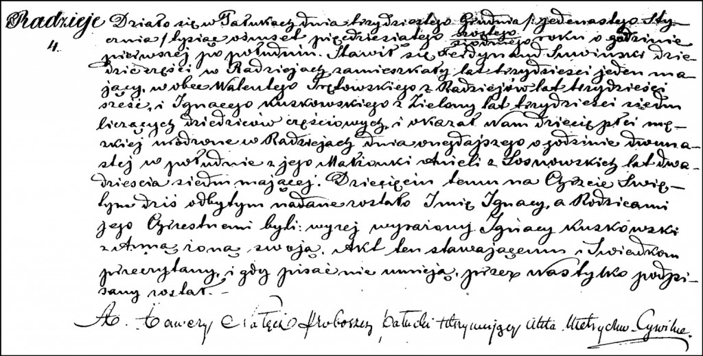 The Birth and Baptismal Record of Ignacy Suwiński – 1857
