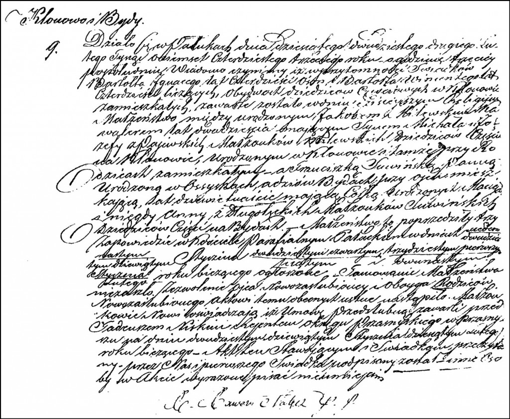 The Marriage Record of Jakub Milewski and Franciszka Suwińska – 1843