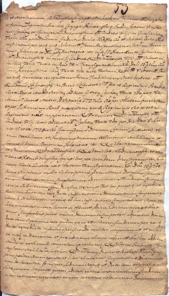 """""""Ciechanowskie Grodzkie Wieczyste"""", sygn.107, k.53r"""