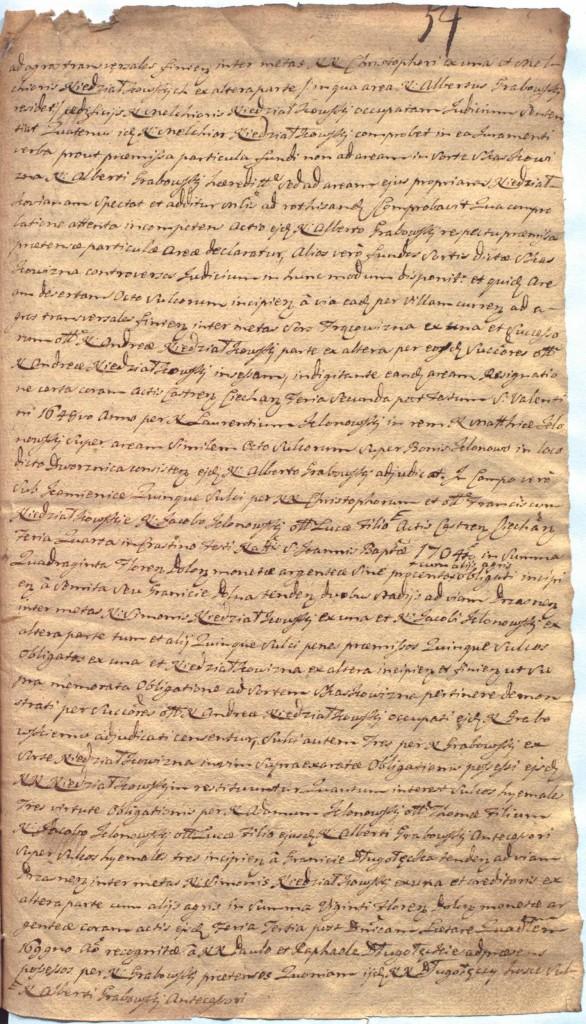 """""""Ciechanowskie Grodzkie Wieczyste"""", sygn.107, k.54r"""