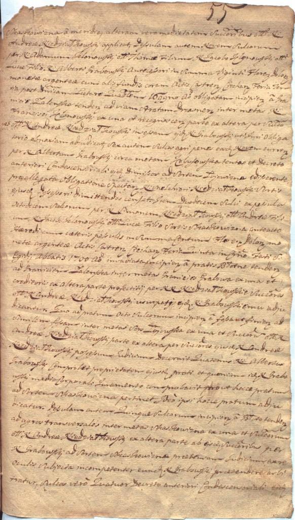 """""""Ciechanowskie Grodzkie Wieczyste"""", sygn.107, k.55r"""