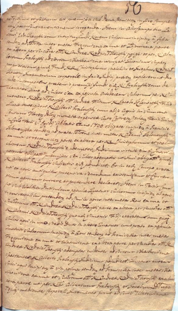 """""""Ciechanowskie Grodzkie Wieczyste"""", sygn.107, k.56r"""