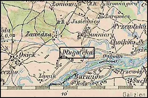 Austrian Military Map of Długołęka (2) – 1910