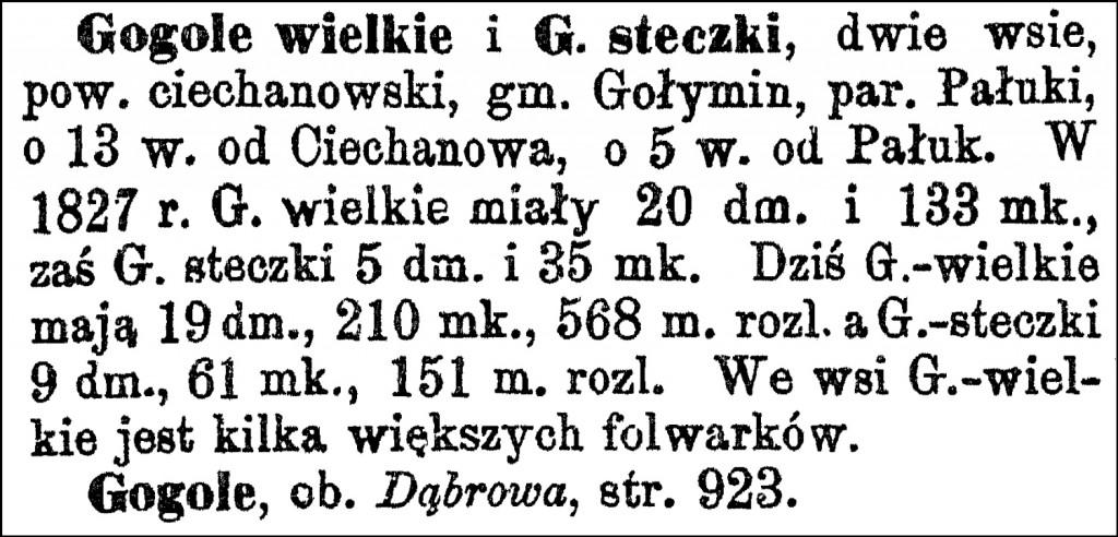 Słownik Geograficzny Entry for Gogole