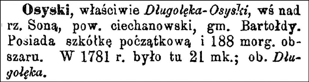 Słownik Geograficzny Entry for Osyski