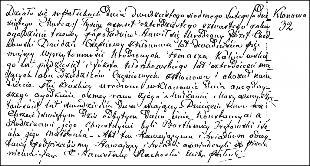 The Birth and Baptismal Record of Konstancja Chodkowska – 1844