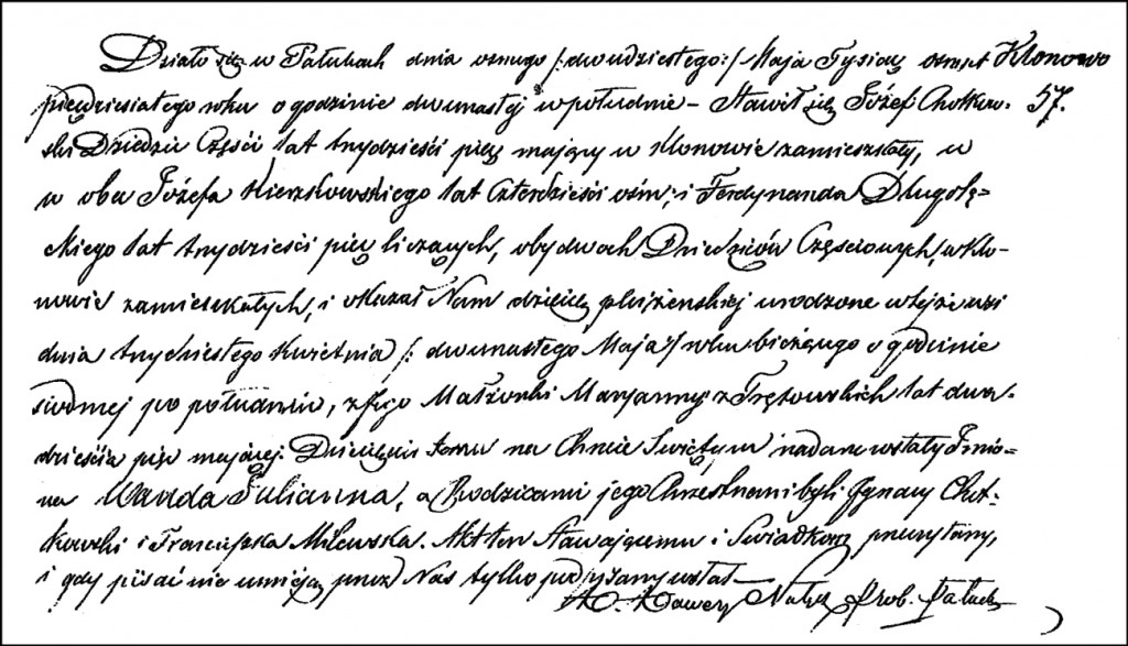 The Birth and Baptismal Record of Wanda Julianna Chodkowska – 1850