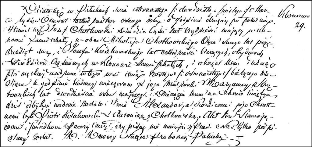 The Birth and Baptismal Record of Aleksander Chodkowski – 1848