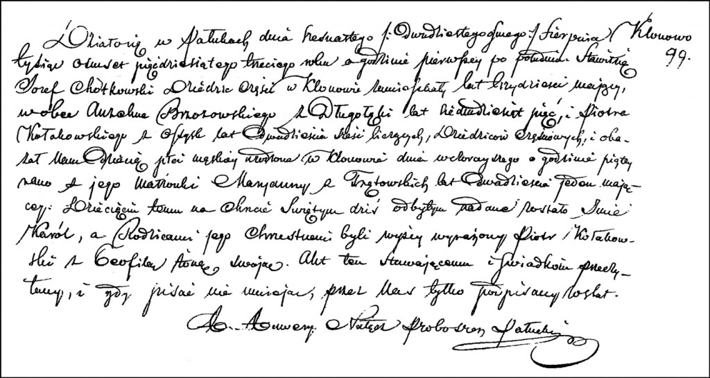 The Birth and Baptismal Record of Karol Chodkowski – 1853