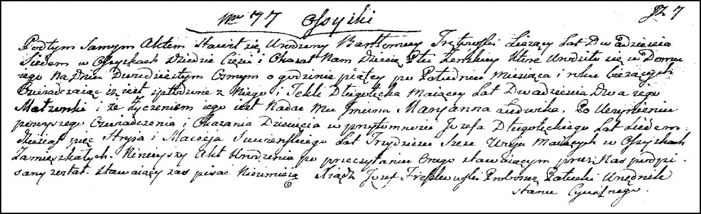 The Birth and Baptismal Record of Marianna Trętowska – 1823