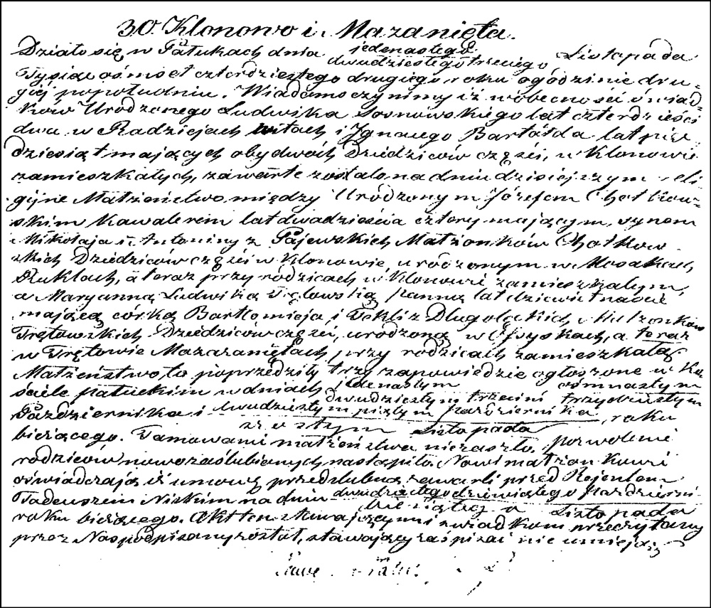 The Marriage Record of Józef Chodkowski and Marianna Ludwika Trętowska – 1842