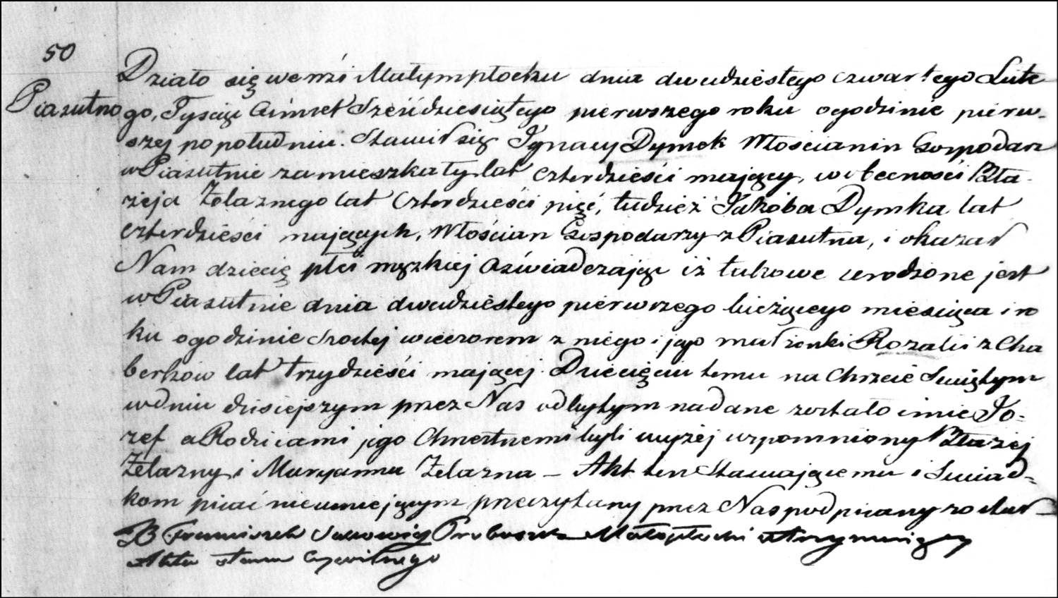 The Birth and Baptismal Record of Józef Dymek – 1861