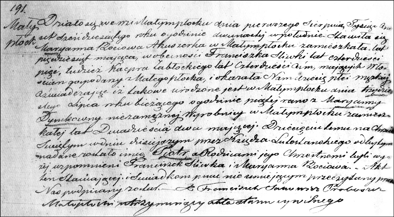 The Birth and Baptismal Record of Piotr Dymek – 1860