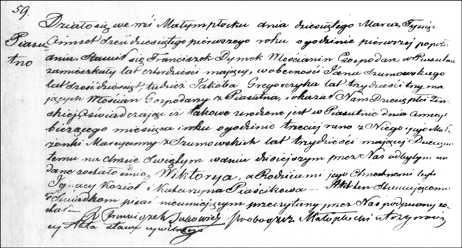 The Birth and Baptismal Record of Wiktoria Dymek – 1861