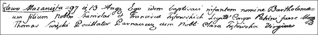 The Birth and Baptismal Record of Bartłomiej Trętowski – 1797