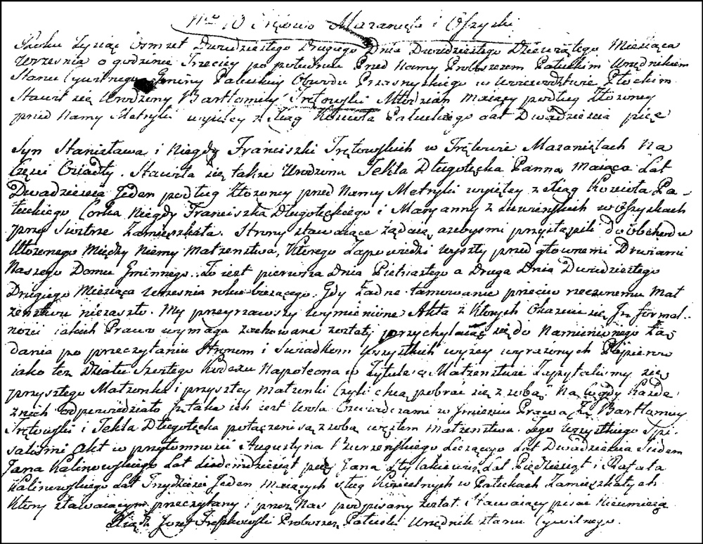 The Marriage Record of Bartłomiej Trętowski and Tekla Długołęcka – 1844