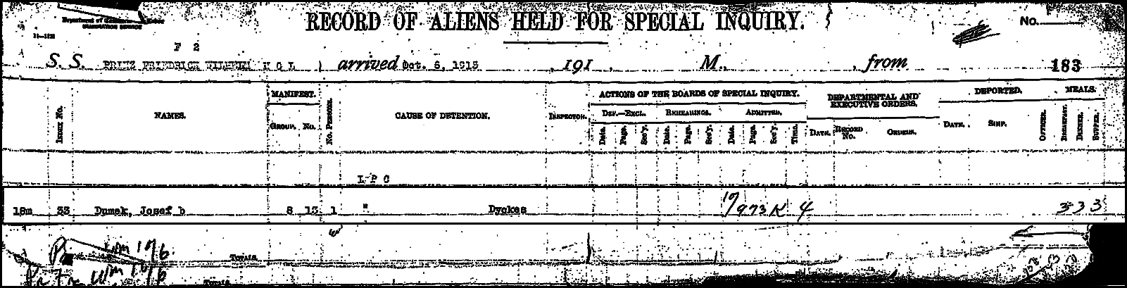 Record of Aliens Held for Special Inquiry for Józef Dymek – 1913