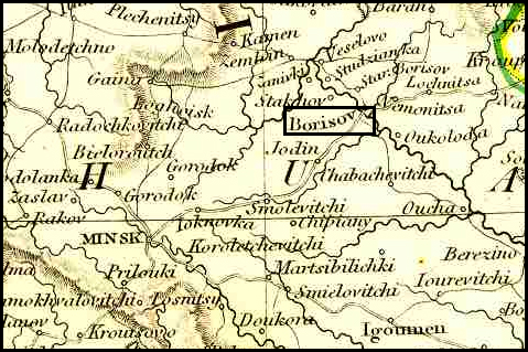 Map of the Borysov Area – 1834