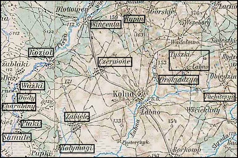 Austrian Military Map of the Czerwone Gmina – 1910