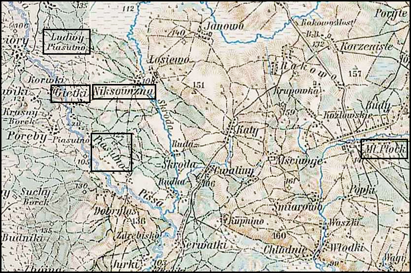 Austrian Military Map of the Piasutno Area – 1910