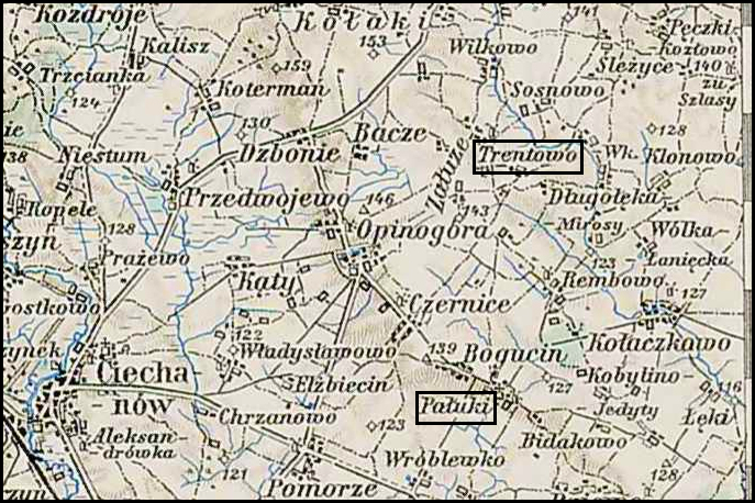 Austrian Military Map of the Trętowo Area – 1910