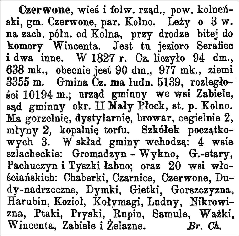 Słownik Geograficzny Entry for Czerwone
