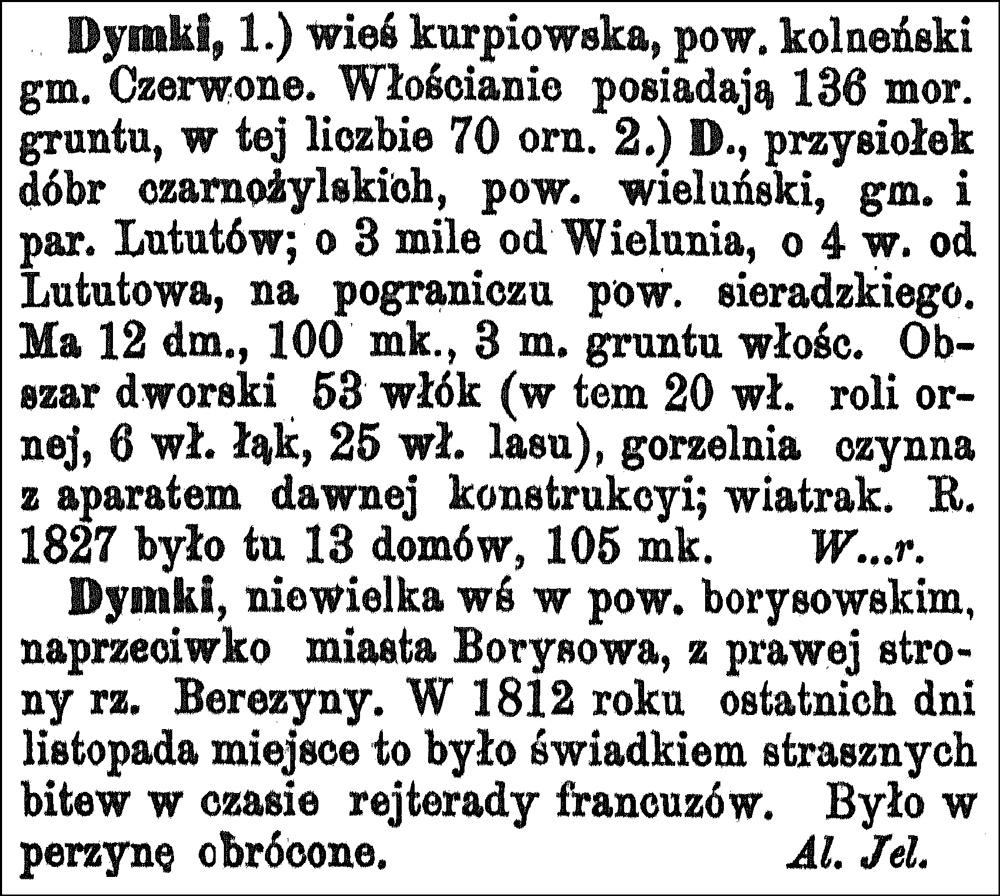 Słownik Geograficzny Entris for Dymki
