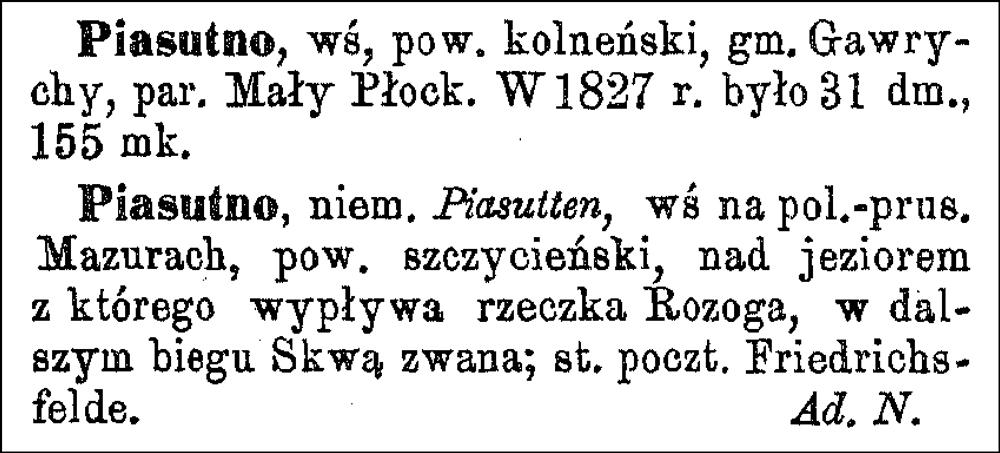 Słownik Geograficzny Entry for Piasutno