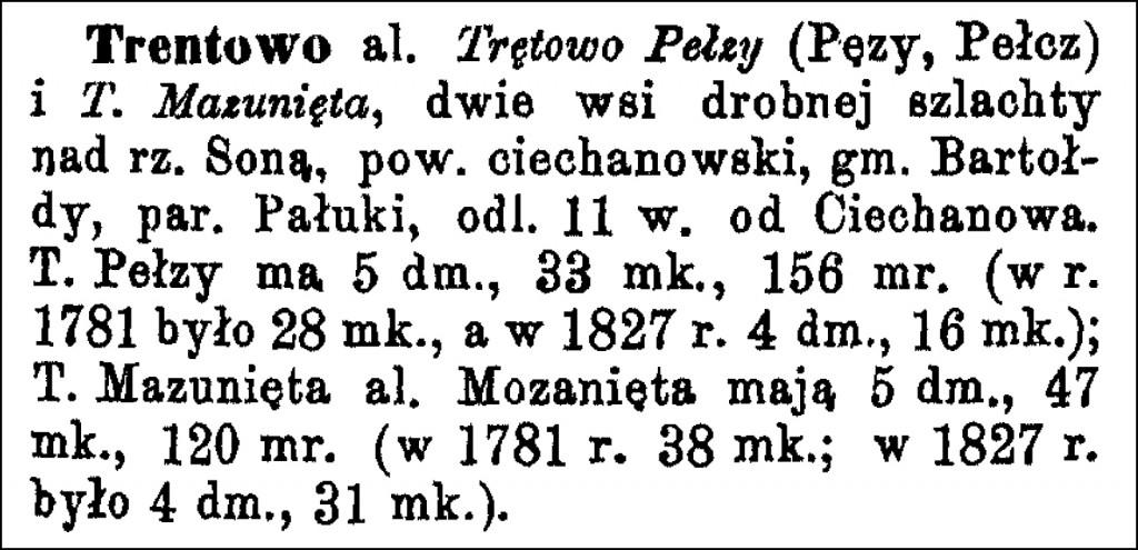 The Słownik Geograficzny Entry for Trentowo