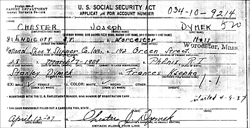 Chester Joseph Dymek's Application for a Social Security Account Number
